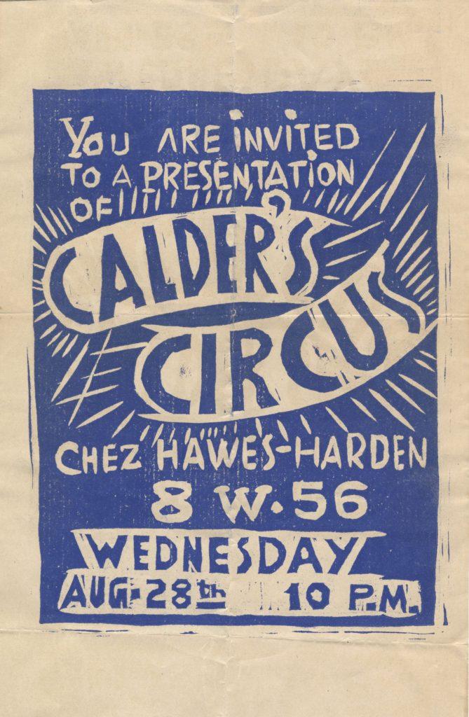 Calders circus invitation Chez Hawes Harden 1929