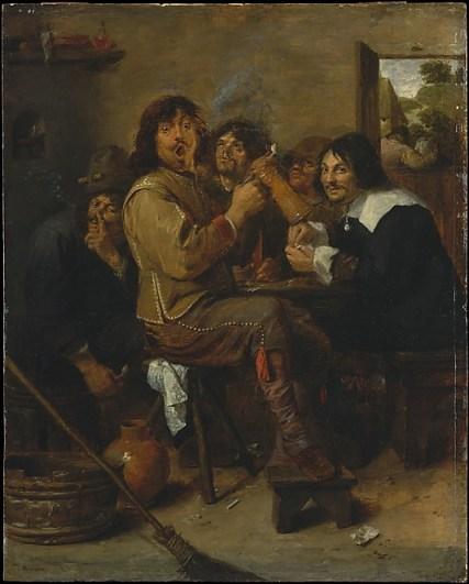 A popularização do consumo de tabaco condicionou também a expressão artística da época. Os Fumadores (c. 1636), de Adriaen Brouwer, pintor da escola flamenga.