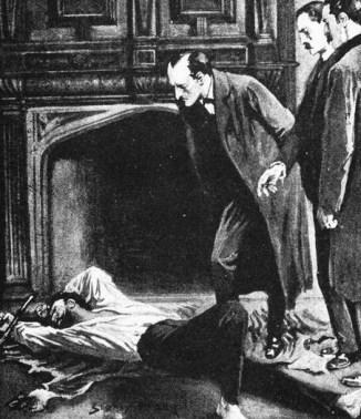 Holmes examinando um corpo (ilustração de Sydney Paget para A Study in Scarlet.)