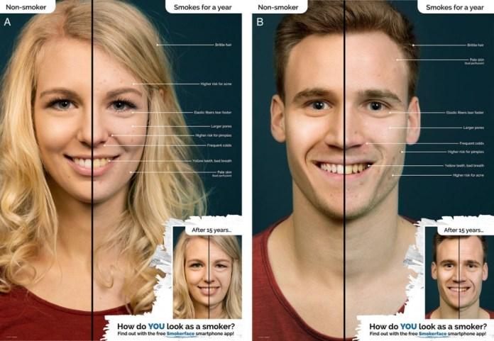 Posters da versão pré-teste da aplicação Smokerface (A) Versão feminina (B) Versão masculina