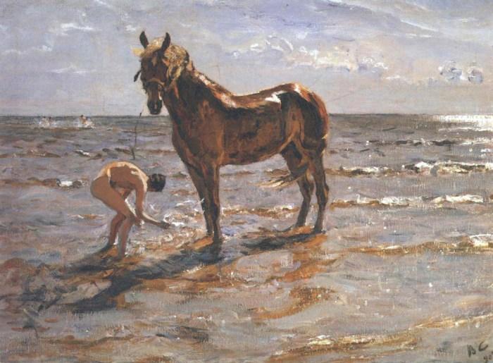 V. Serov, Banho do cavalo, 1905.