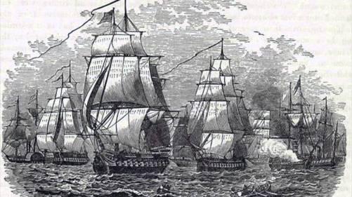 Esquadra naval de Mathew C. Perry chega ao Japão e impõe uma cooperação com os EUA e a abertura da economia e dos portos do país aos produtos dos EUA. Crédito: housedivided.dickinson.