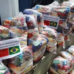 Comunidade chinesa faz doações de cestas básicas. Crédito: Cadu Silva/Blog Franklin Toscano.