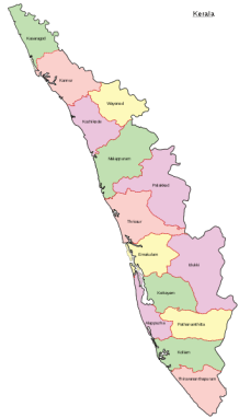 Mapa de Kerala. Crédito: Wikimedia.