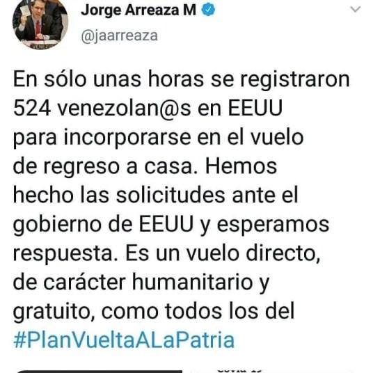 Mensaje de Jorge Arreaza