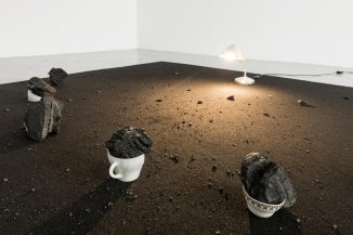 Julia Llerena, Carbón (Coal), 2017, Broken teacups, coal, lamp and carpet, variable dimensions. Cortesía Rodríguez Gallery