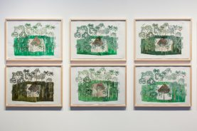 "Abel Rodríguez, selected drawings from the series ""Annual Cycle of the Flooded Rainforest,"" 2009, ink, graphite, and watercolor on paper, installation view, Naturkundemuseum im Ottoneum, Kassel, documenta 14, photo: Roman März"