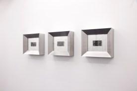 """Stay Behind, 2017 Caja de acero y vidrio, cuño tipográfico 16.73 x 14.56 x 5.11"""" (42.5 x 37.5 x 13 cm)"""