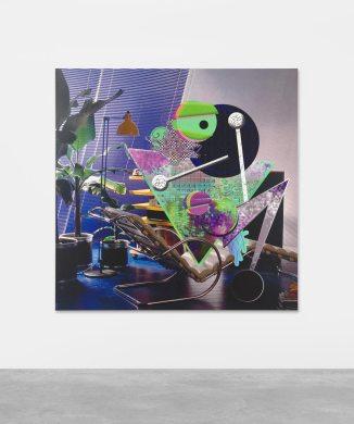 Ad Minoliti, Queer Deco, 2018. Pintura, Impresión digital sobre lienzo. 150 x 150 cm. AM14832. Cortesía Peres Projects, Berlin. Foto: Matthias Kolb