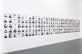 Adam Broomberg and Oliver Chanarin, Untitled (165 portraits with dodgers), 2012, fiber-based print, courtesy the artist and Lisson Gallery, London, photo by Aad Hoogendoorn