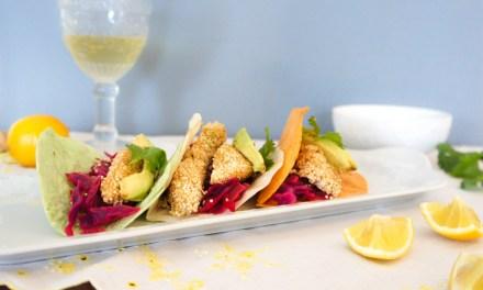 Tacos de pescado en amaranto con salsa de mango