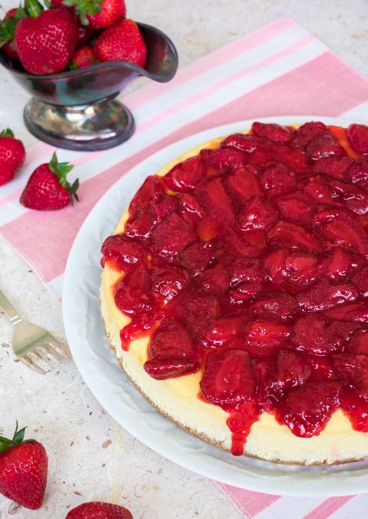 Receta de cheesecake de fresa en revista Maria Orsini