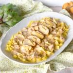 Fettuccine con pollo en salsa cremosa de alcachofa