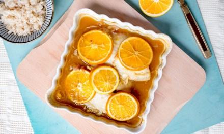 Pescado a la naranja con jengibre y miel