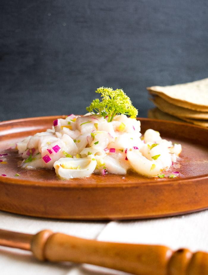 Receta de ceviche de huachinango y litchi