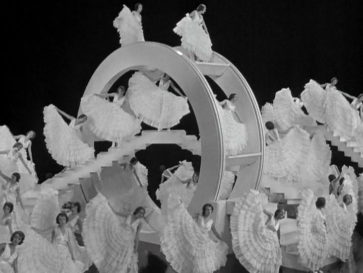 """A despersonalização das dançarinas, que parecem idênticas a Ruby Keeler e escondem seus corpos por trás da imagem multiplicada de seu rosto em """"I Only Have Eyes for You"""""""