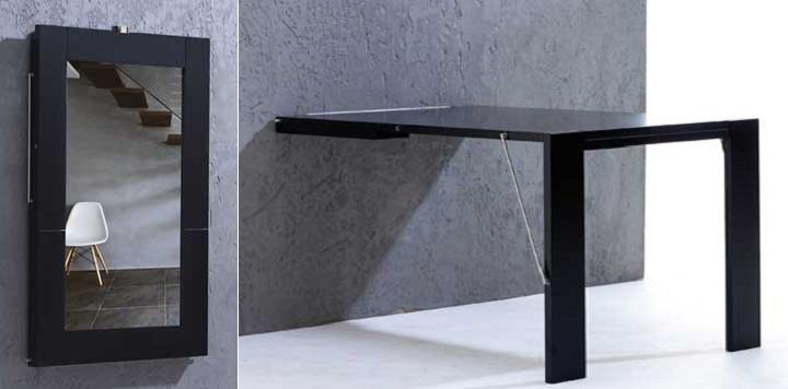 Una mesa plegable que se cuelga en la pared revista for Mesas de comedor plegables baratas