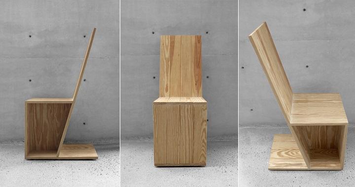 Silla angular en madera natural revista muebles for Disenos de sillas de madera