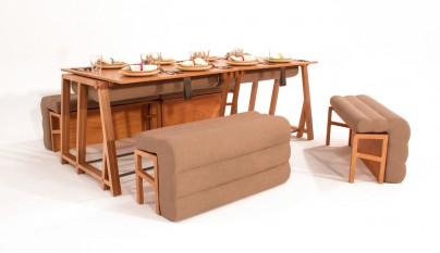 Un sof que se convierte en mesa y cama revista muebles for Silla que se convierte en mesa