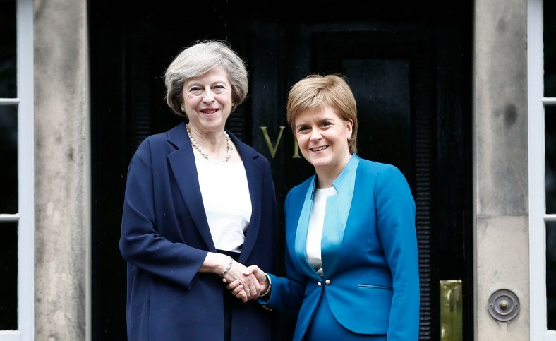 "The first minister greeted Mrs May on the steps of her official residence, Bute House, ahead of the meeting. Ms Sturgeon said she wanted to discuss options to protect Scottish interests, which she believes have been put ""at risk"" by the UK's vote to leave the EU. Mrs May said her message was that the UK government was on the side of Scots. Speaking before her visit, the PM vowed to fully engage with the Scottish government on Brexit negotiations. She said: ""This visit to Scotland is my first as prime minister and I'm coming here to show my commitment to preserving this special union that has endured for centuries. ""And I want to say something else to the people of Scotland too: the government I lead will always be on your side. ""Every decision we take, every policy we take forward, we will stand up for you and your family - not the rich, the mighty or the powerful. ""That's because I believe in a union, not just between the nations of the United Kingdom, but between all of our citizens."" Picture: Pool/Universal News And Sport (Scotland) 15/07/2016"