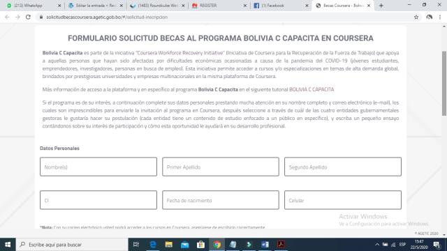 Coursera becas Bolivia