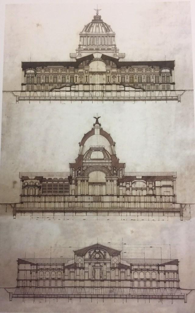 mile Bénard-Cortes transversales sobre la gran escalera, la sala de pasos perdidos y a Cámara de diputados del Palacio Legislativo-1904-SCT