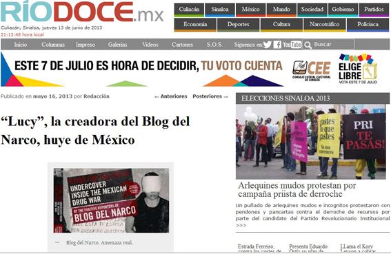 """En la portada de RíoDoce, de Culiacán, la información sobre la huída de """"Lucy"""", la cabeza del Blog del Narco."""