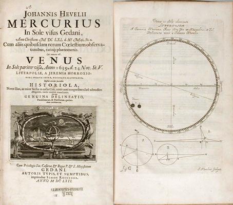 Portada y grabado del libro de Johannes Hevelius Mercurius in sole visus Gedani, 1662, en el que edita como anexo Venus in sole visa de Horrocks.