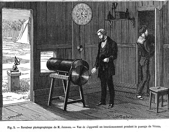 Grabado del uso del revólver fotográfico de Jules Janssen durante el tránsito de Venus.