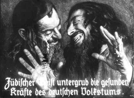 """""""El espíritu judío socava la salud del pueblo germano"""", cartel de la segunda mitad del siglo XIX."""