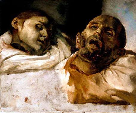 Cabezas de víctimas de la tortura (estudio para La Balsa de la Medusa), Theodore Gericault.