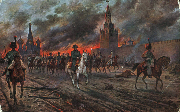 Napoleón se retira del incendio de Moscú.