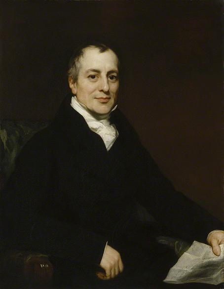 David Ricardo a los 49 años, ca. 1821. Retrato de Thomas Phillips.