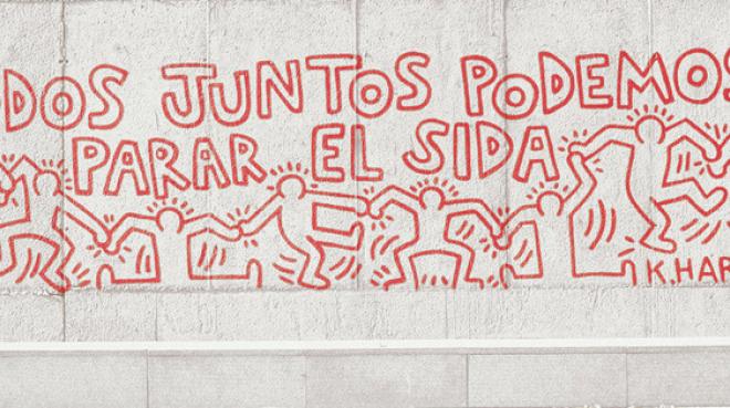 """Keith Haring, """"Todos juntos podemos parar el sida"""", fragmento."""