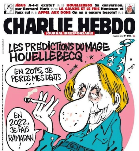 Houellebecq en el Charlie Hebdo.