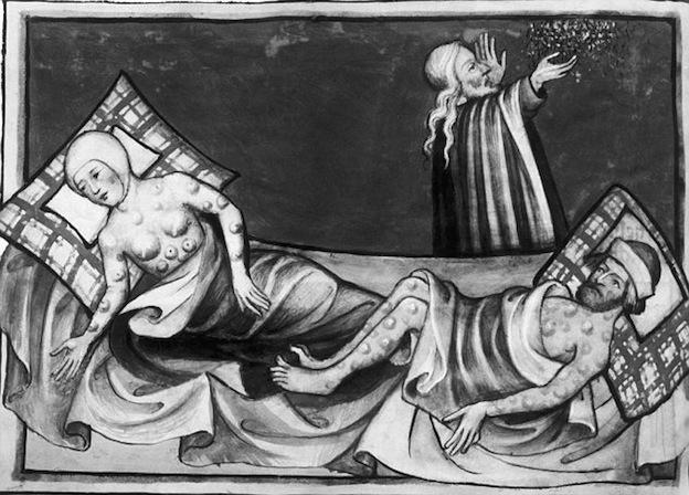 Ilustración del siglo XV de la peste bubónica. Biblia de Toggenberg.