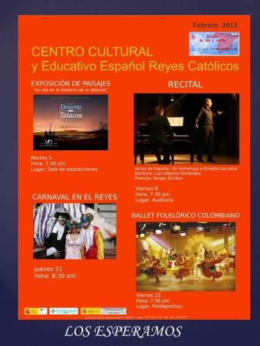 Programación de Actividades Culturales para Febrero de 2013