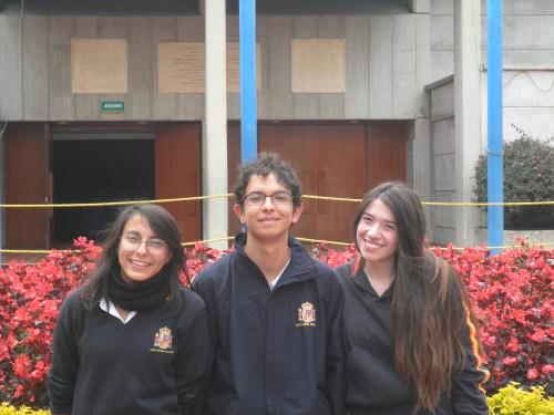 De izquierda a derecha los candidatos a Personería, Juanita Eslava, Juan Pablo Mantilla y Daniela Sánchez