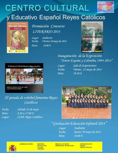 CCEE Reyes Católicos. Programación de actividades. mayo y junio 2014