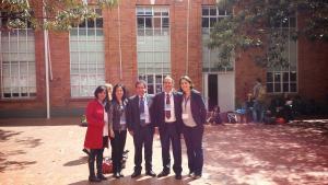 Profesores responsables de los Modelos en los Centros binacionales (Liliana por el Helvethia, Sara por el Andino, Nelson por el Da Vinci, Valentín por el Reyes y Catalina, la anfitriona, por el Liceo Francés).