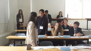 La Corte Interamericana donde vemos a nuestro alumno Yasser defendiendo su posición como juez de la Corte.