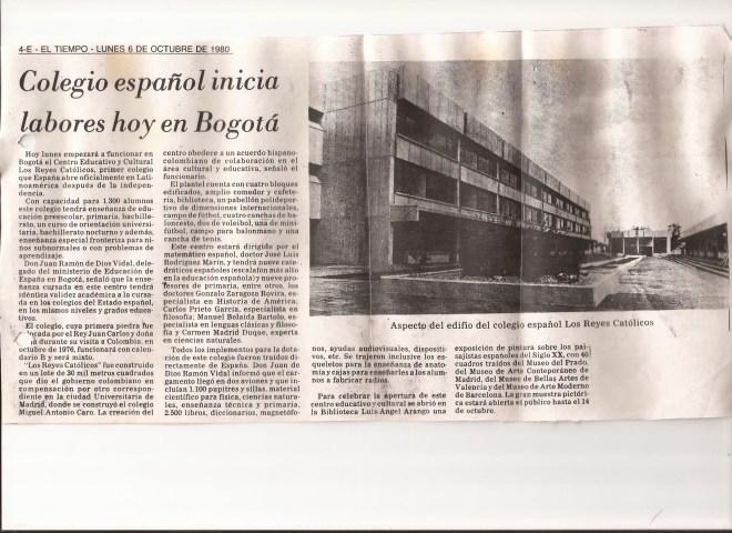 Artículo de El Tiempo del 6 de octubre de 1980