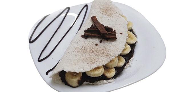 tapioca com banana e chocolate