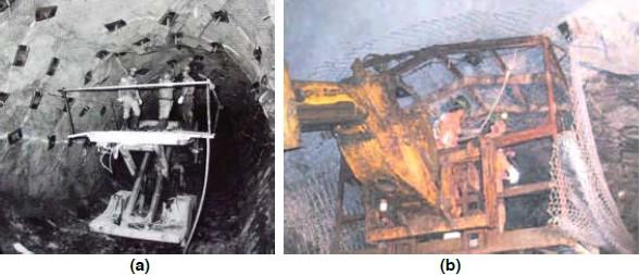 Incorporación de la malla en una mina subterránea