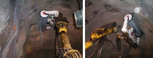 Montaje de una malla en una mina subterránea