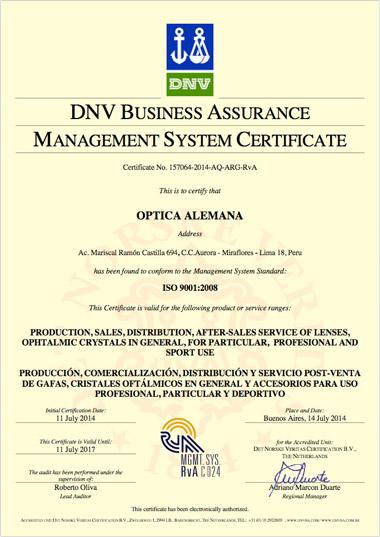 Optica Alemana Certificación de Gestión de Calidad