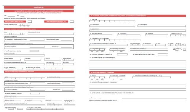 Formulario 1 del registro único de información sobre accidentes de trabajo