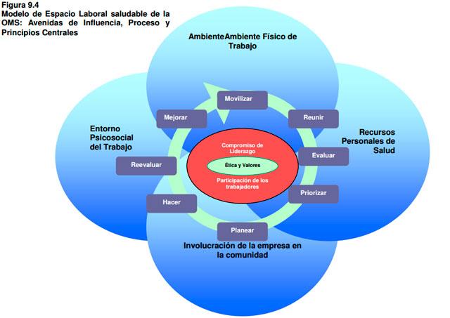 Modelo de entorno laboral saludable de la oms: avenidas de influencia, proceso y principios centrales