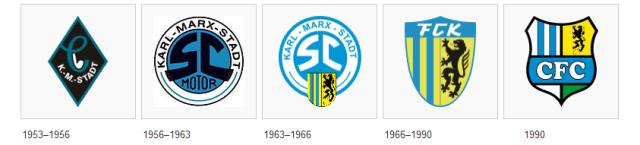 Os escudos que o clube já teve, com destaque para a era Karl-Marx-Stadt FC.