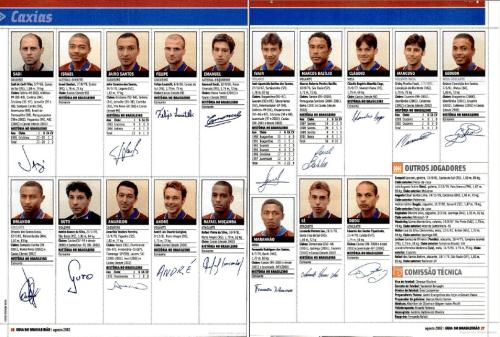 Duas páginas com os jogadores do plantel do Bepe (Foto: Reprodução/Placar Magazine - Google Books)